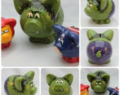 Small Ceramic Piggy Bank Any Character or Theme (Made to Order)