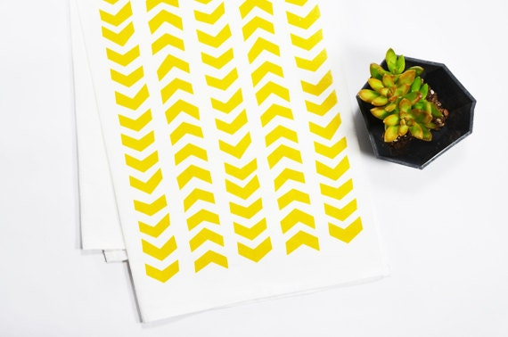 Tea Towel - Screen Printed - Mustard Arrows on White