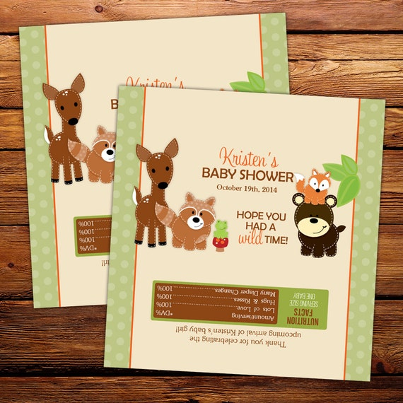 Woodland Neutral Candy Bar Wrappers Baby Shower Birthday