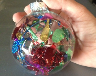 Christmas Lights and Red Hearts in Glass Ornament