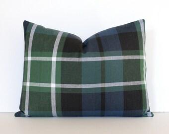 """Plaid Tartan Decorative Designer Pillow 12 x 16"""" lumbar Green Navy Blue Accent Cushion Cover Rustic Modern Robert Allen Design farmhouse"""