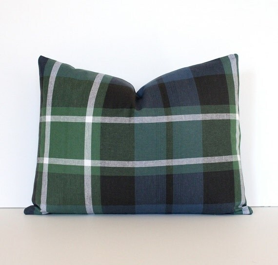 "Plaid Tartan Decorative Designer Pillow 12 x 16"" lumbar Green Navy Blue Accent Cushion Cover Rustic Modern Robert Allen Design farmhouse"