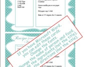 Recipe Cards polka dot you print, Printable recipe cards Fill in details in WORD or complete by hand, 378 shower gift personal