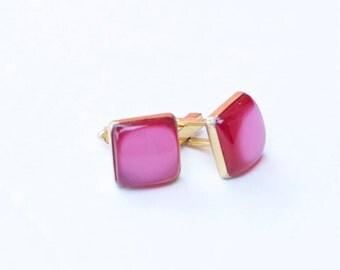Vintage Magenta Pink Cuff links Gold Tone Acrylic Retro Men's Accessories Wedding Groom Cufflinks Gift for Him