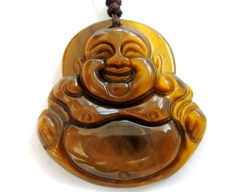 Talisman Tiger Eye Gem Tibet Buddhist Laughing Buddha Amulet Pendant 30mm x 28mm  T3005