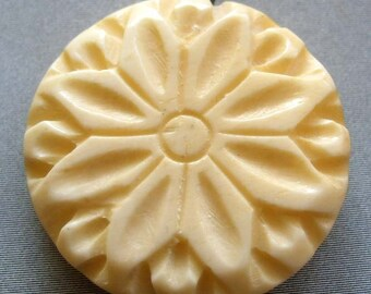Ox Bone Carved Flower Pendant Bead 25mm x 25mm  T1769