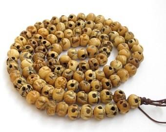 10mm x 8mm Ox Bone Skull Meditation Yoga Tibet Buddhist 108 Prayer Beads Japa Mala Necklace  ZZ133