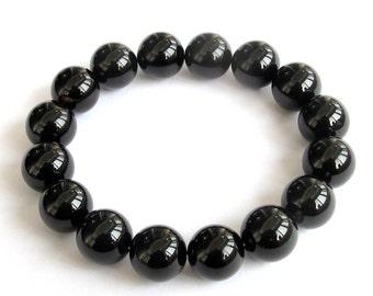 12mm Tibet Buddhist Black Agate Gemstone Prayer Beads Rosary Beaded Mala Bracelet  T0809