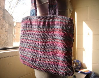 Hand Knitted Tote Bag, Multi Coloured Handbag, Knitted Tote Bag