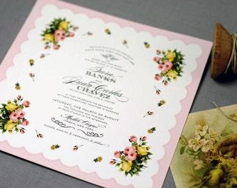 Vintage Hanky Wedding Invitation - printable