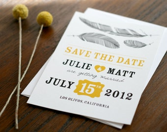 Feather Save the Date: Feather me with Love