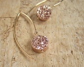 Rose Gold Druzy Earrings Titanium Drusy Quartz 14K Gold Fill