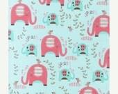 Elephants Splash - Pink - Quilting Cotton - 1/2 yard