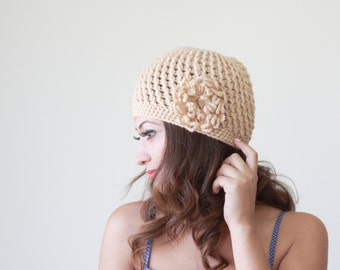 Women crochet hat, Floral hat for womens in Tan color, crochet accessories, Lightweight beanies, soft