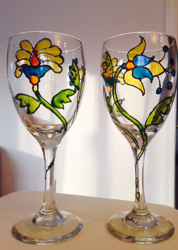 hand painted wine glasses by artbypiyali on etsy