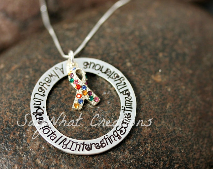 Sterling Silver Custom Hand Stamped Autism Awareness Necklace with Colored Ribbon