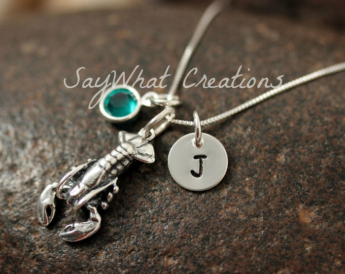 Sterling Silver Mini Initial Hand Stamped Lobster Charm Necklace