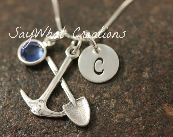 Hand Stamped Mini Initial Sterling Silver Ax and Pick Coal Miners Charm Necklace