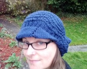 Slouchy beanie with brim, navy blue feather and fan lace pattern, adult size small/medium, vegan