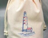 8x12 Drawstring Bags- Wedding Favor-Party Favor - Pick SIze - Muslin Bag - Lighthouse - Customize