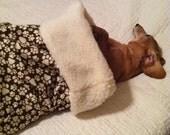 Small Dog / Dachshund Brown with Tan Pawprints Print Snuggle Sack / Sleeping Bag