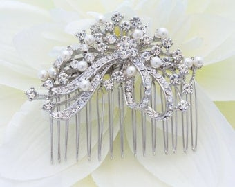 Pearl bridal hair comb wedding hair jewelry 1920's bridal hair accessories wedding headpiece Bridal hair jewelry wedding accessories bridal