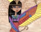 Egypt artwork, big eyes girl, goddess, Cleopatra, brightly colored wings, Egyptian, print