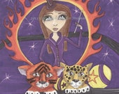 cubs, Circus, Kitten Tamer, faerie, big eyes, fairy, brightly colored, purple yellow orange green