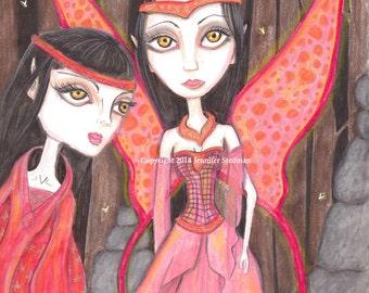 faerie artwork, big eyed girl, 5 x 7 print, rocks, runes, forest fairy, glow bugs, lightning, magic, witch