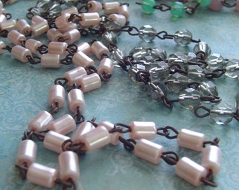 PaLe PinK Tube Glass PeaRL Beaded Chain Aged Dark Patina wire links ...Rosary bead chain