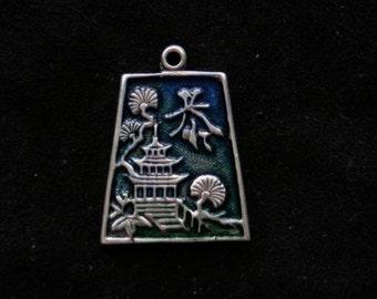 Sterling silver asian oriental scenic pendant bracelet charm guillioche enamel variated blue to green
