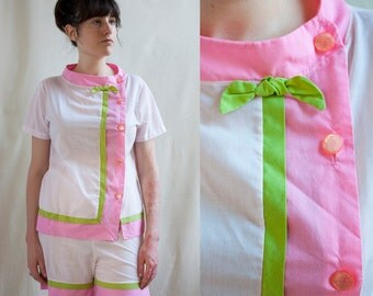 60s Pink Pajama Set / Women's Sleepwear / Lingerie / Small