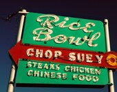 Rice Bowl Chop Suey - Neon Sign - Retro Kitchen Decor - Chinese Food Sign - Red Arrow - Bright Wall Art - Fine Art Photography