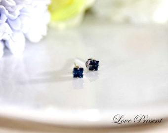 Unisex Swarovski Crystal Square cartilage Stud Earrings - Color Dark Sapphire