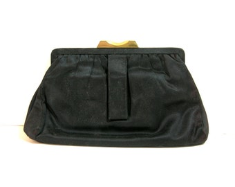 Vintage Black Satin Clutch Bag
