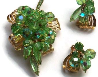 Vintage Green Aurora Borealis Crystal Pin Brooch Set