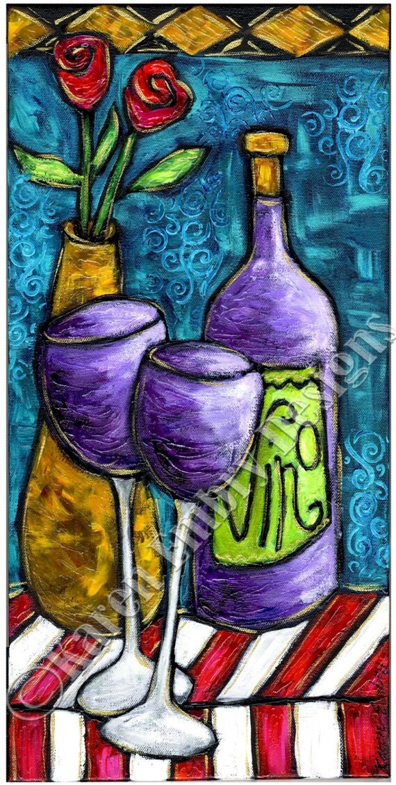 Items Similar To Wine Painting On Canvas Original