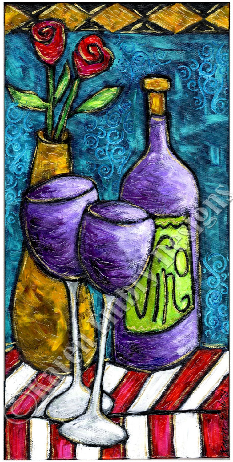 Wine painting on canvas original acrylic painting by for Paint vino