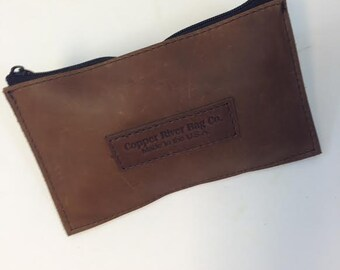 Small Leather Zip Pouch - Brown