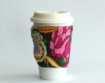 Insulated Coffee Cozy - Brown Floral - Ready to Ship