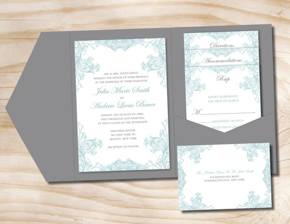 Ornate fleurish 100 professionally printed wedding for Printed pocketfold wedding invitations