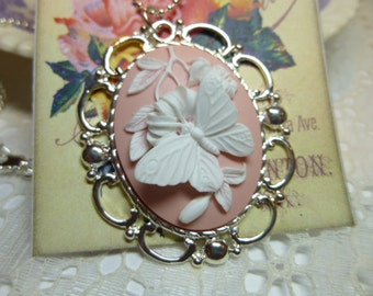 Cameo Pendant Necklace Butterfly Cameo Pendant Large White on Pink Butterfly Cameo Pendant Necklace 40 x 30mm