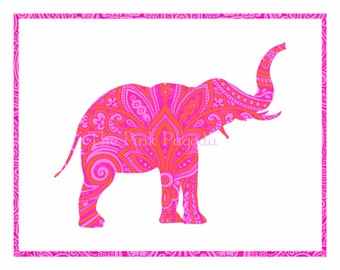 Boho Tangerine Orange and Hot Pink Indian Paisley Elephant Facing Right Silhouette Giclee