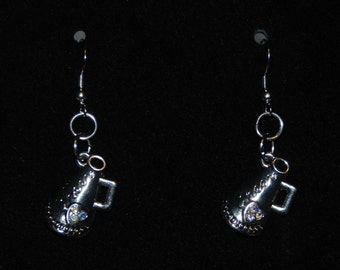 Cheer Megaphone Silver Metal Dangle Hook Earrings