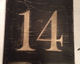 Custom Distressed Number Canvas