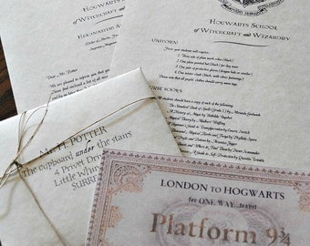 Personalized Harry Potter Hogwarts Acceptance Letter (Includes FREE Ticket on Hogwarts Express)