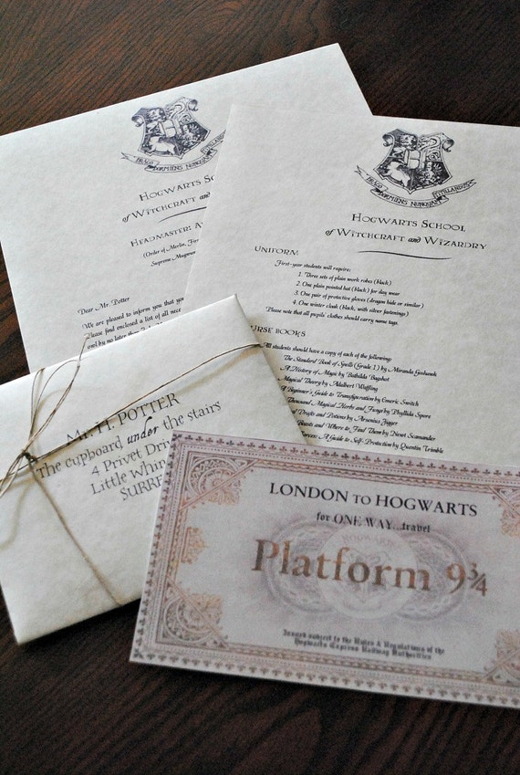 Personalized Harry Potter Hogwarts Acceptance Letter Includes
