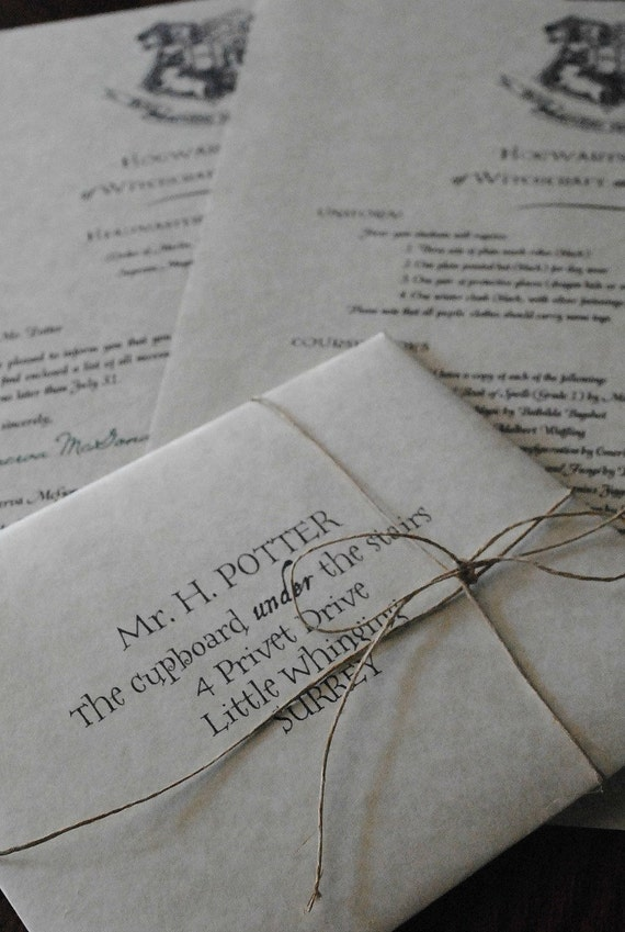 Personalized Harry Potter Letter - Hogwarts Acceptance Letter ...