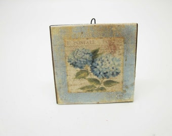 """Miniature shabby chic wooden picture """"ortensia"""""""