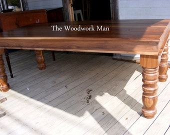 Solid WALNUT Country Dining Table Completely Handcrafted With Hand Turned Legs